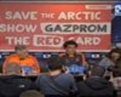 Greenpeace hijacks Real Madrid news conference with anti-Gazprom banner
